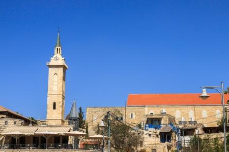 ein: Panorama Ein Kerem, with belfry of John the Baptist, Jerusalem, Israel
