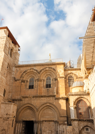 Jerusalem city, inner courtyard of ancient church of the Holy Sepulchre, Israel photo
