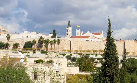 Walls, roofs and churches of Jerusalem city, Israel photo