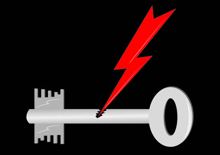 Vectors key with lightning isolated on black background Vector