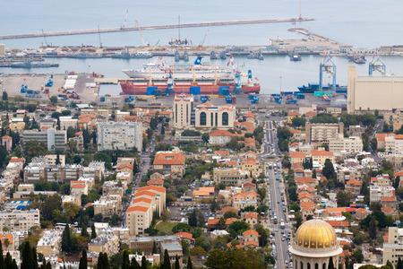 Haifa - 14-11-2011: Panorama of port Haifa from mount Carmel