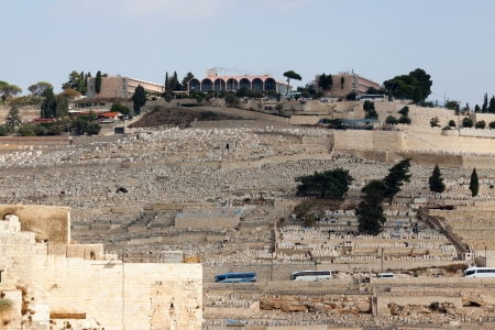 Panorama of Mount Olives with cemetery in Jerusalem, Israel photo