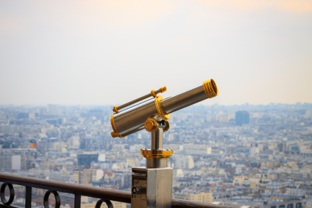 Spyglass at the Eiffel Tower in Paris, France photo