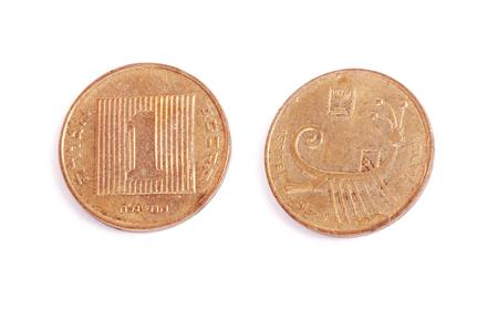disused: Una moneda israel� en desuso agora aisladas sobre fondo blanco