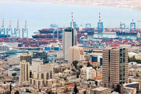 Haifa - 14-11-2011: Panorama of Haifa and port from mount Carmel