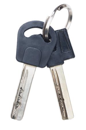 Two keys on keyring isolated on white background