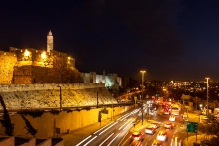 Tower of David and traffic on Jaffa street in Jerusalem, Israel photo