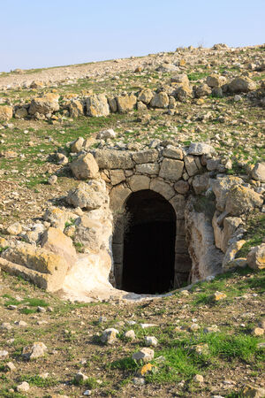 Entrance to the ancient house in Horvat Rimmon, Israel photo