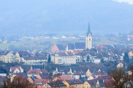 Small German village in the morning haze photo