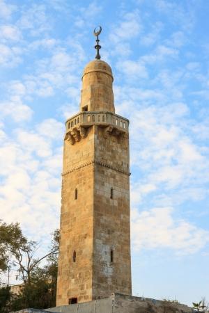 Old minaret in jewish quarter Jerusalem near synagogue, Israel photo