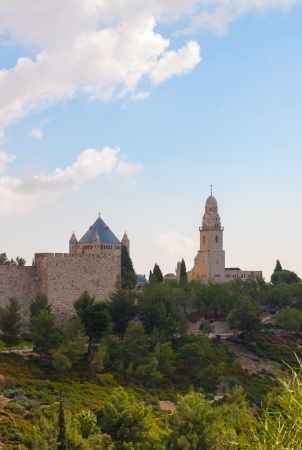 Dormitsion and Walls  of Jerusalem under the white louds photo