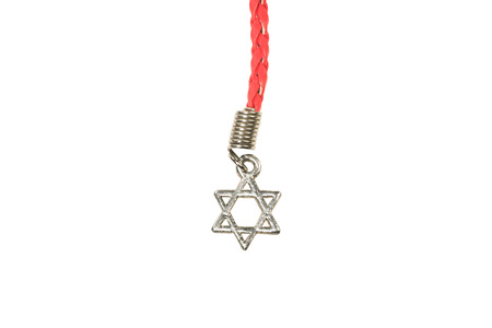 Silver Star of David isolated on white  photo
