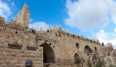 Part of wall of Jerusalem near Shkhem gate, Israel photo