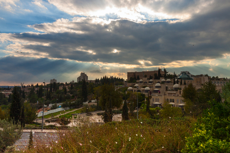 Panorama on a sunset in Jerusalem, Israel photo