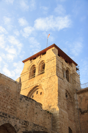 Belfry above the entrance to the Temple of the Holy Sepulchre in Jerusalem photo