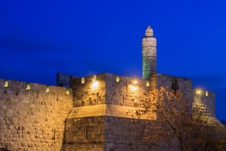 Tower of David in Jerusalem in a blue twilight, Israel photo