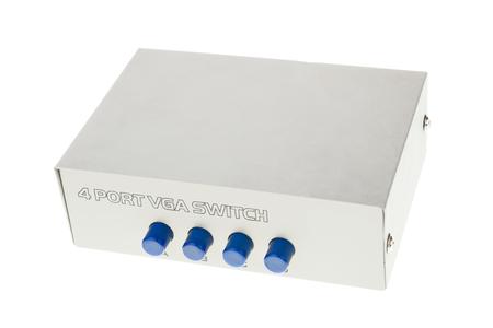 vga: Interruptor de VGA port multi con botones azules aislados en blanco Foto de archivo