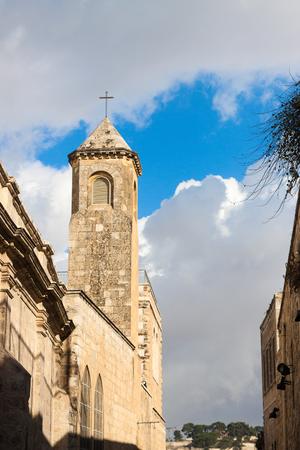gospels: Campanile on the Via Dolorosa street in Jerusalem city