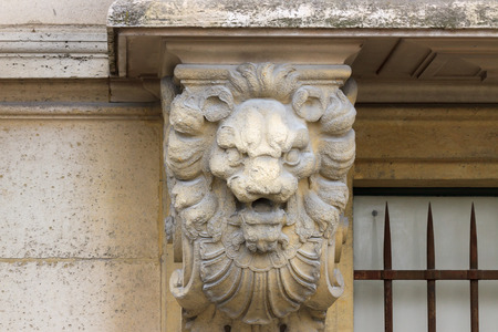 bas-relief of a lion on a building in Paris photo