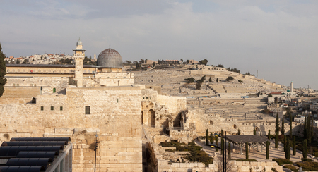 mount of olives: Panorama dome of mousque Al-aqsa and Mount Olives in Jerusalem Stock Photo