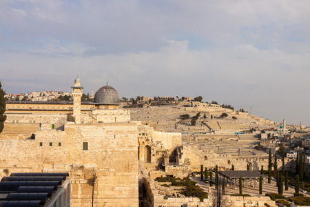 mount of olives: Ancient dome of mousque of Al-aqsa and Mount Olives in Jerusalem Stock Photo