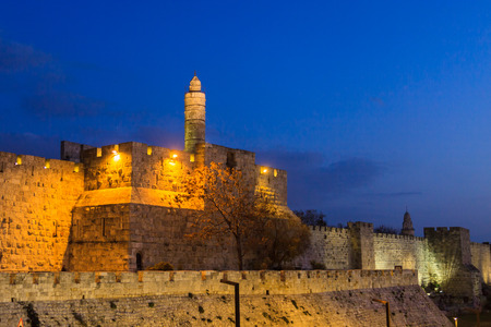 Evening in Jerusalem, Tower of David, Israel photo
