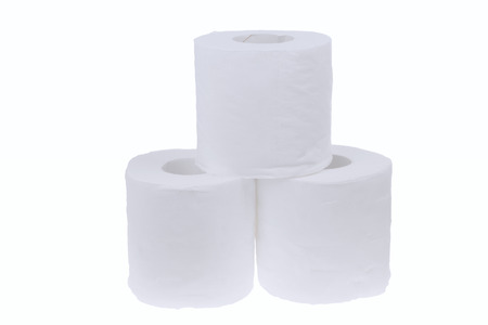 Three rolls of toilet paper isolated on white background Stock Photo - 26032806