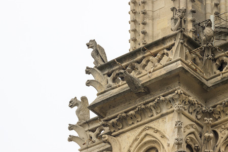 Ugly chimeras on Notre Dame de Paris photo