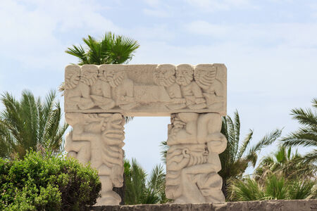 Front view of white stone arch in park Jaffa city photo