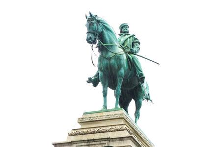 Bronze statue of Garibaldi on horse in Milan under rain isolated on white background photo