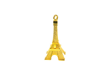 Golden Eiffel tower isolated on white background photo