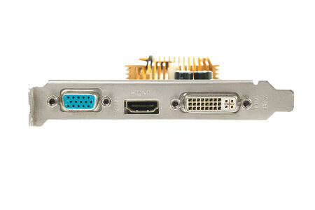 pci card: Rear panel video card of PC isolated on white background