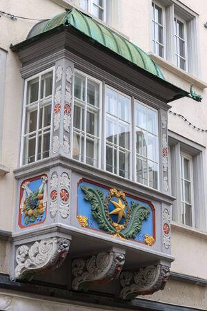 st gallen: Ancient bay window in St Gallen Switzerland