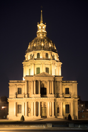 Panorama of facade Cathedral Les Invalides in Paris, France at night photo