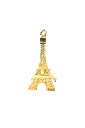 Small model of Eiffel tower isolated on white background photo