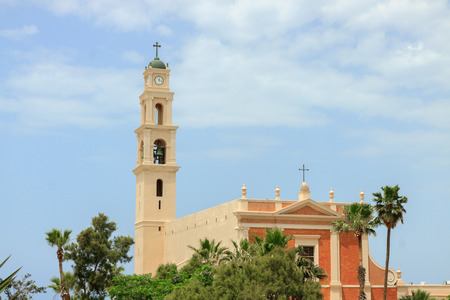 White belltower of the saint Peter monastery in Jaffa photo
