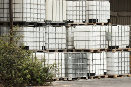 Chemical containers on factory