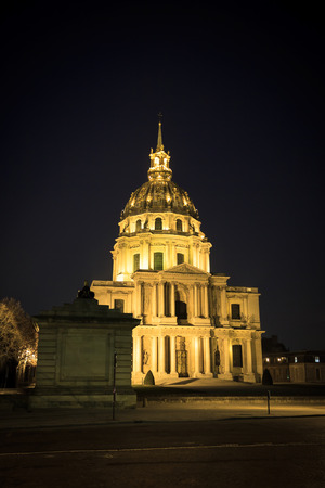 Night view of panorama Cathedral Les Invalides in Paris, France