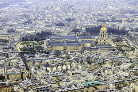 Les Invalides in Paris  from Eiffel Tower, France photo