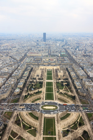 Panorama of Champ de Mars and Montparnasse from Eiffel Tower in Paris, France photo