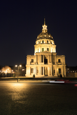 Panorama of Central facade Cathedral Les Invalides in Paris, France at night photo