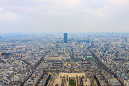 Panorama of Champ de Mars and EuroDefense France from top of Eiffel Tower, Paris photo