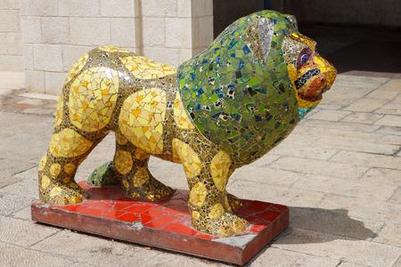 JERUSALEM  ISRAEL - APRIL 12, 2014  modern lion statue on Safra square