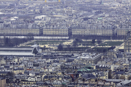 Panorama of park Tuileries in front of the Louvre, Paris, France photo
