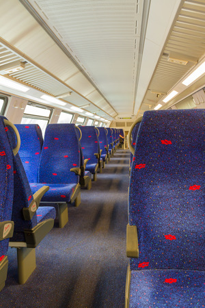 TEL-AVIV, ISRAEL - JULY 03, 2014: Interior of an empty passenger rail car