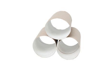 Paper tubes isolated on white background photo