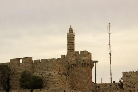 The David tower on sunset in Jerusalem