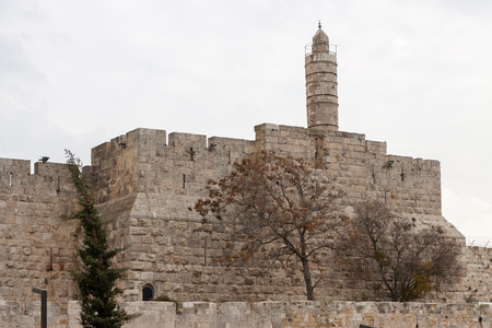 The ancient tower of king Davids in Jerusalem