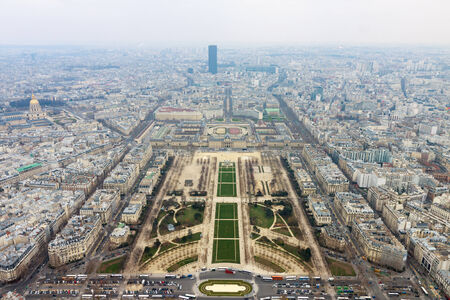 Panorama of Champ de Mars from top of Eiffel Tower in Paris, France photo