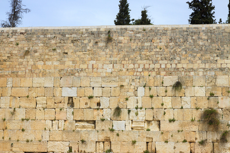 The top of wailing wall of Jerusalem city